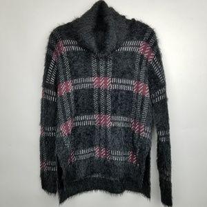Sanctuary SZ S black plaid sweater top